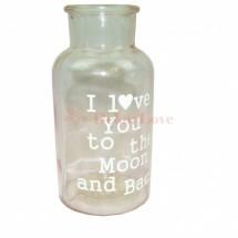 Dekor üveg váza -rózsaszín