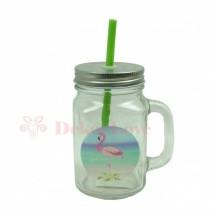 Flamingós szívószálas pohár -zöld