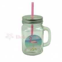 Flamingós szívószálas pohár - rózsaszín